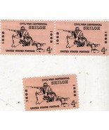 Stamps- U.S. Postage-(3) 4 Cent Stamp - Civil War Centennial- Shiloh (19... - $2.95