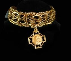 Gold filled Bracelet Religious bracelet vintage gold bracelet Virgin mary medal  - $245.00