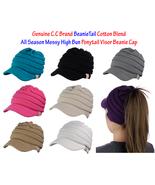 CC BeanieTail Cotton Blend All Season Messy High Bun Ponytail Visor Bean... - $16.99
