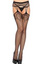 Black Lace Fishnet Faux Gartered Pantyhose  - $7.92