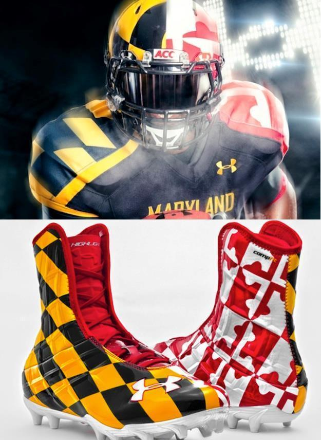 RARE Maryland Terrapins Under Armour UA Team Highlight Football Cleats-Black Ops
