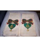 2 Decorative Christmas HandTowels Cream Color - $7.91