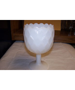 White Milk Glass Goblet Style Candy Dish Dimond... - $6.92