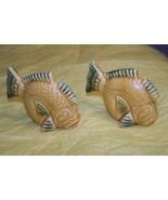 Vintage Ceramic Brown Tropical Fish Salt And Pepper Shakers - $6.92