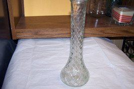Vintage Hoosier Clear Glass Quilt Design Vase - $3.95