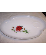 "Vintage Federal Dura-White Glass ""Rosecrest"" Snack Plate - $6.92"