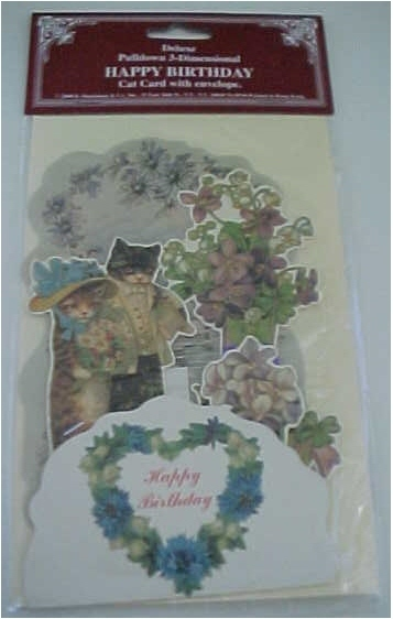 Birthday Card Victorian Cat Reproduction B. Shackman w/Envelope