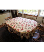 Cotton tablecloth oak leaves acorns fall oval 60X80 - $34.50