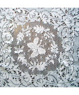 Delicate Vtg white cotton lace butterfly tablecloth 50X70 rectangle - $32.50