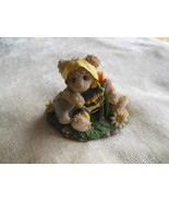 Resin Teddy Bear Figurine Dressed in Bumble Bee Outfit with Flower Garden - $9.89