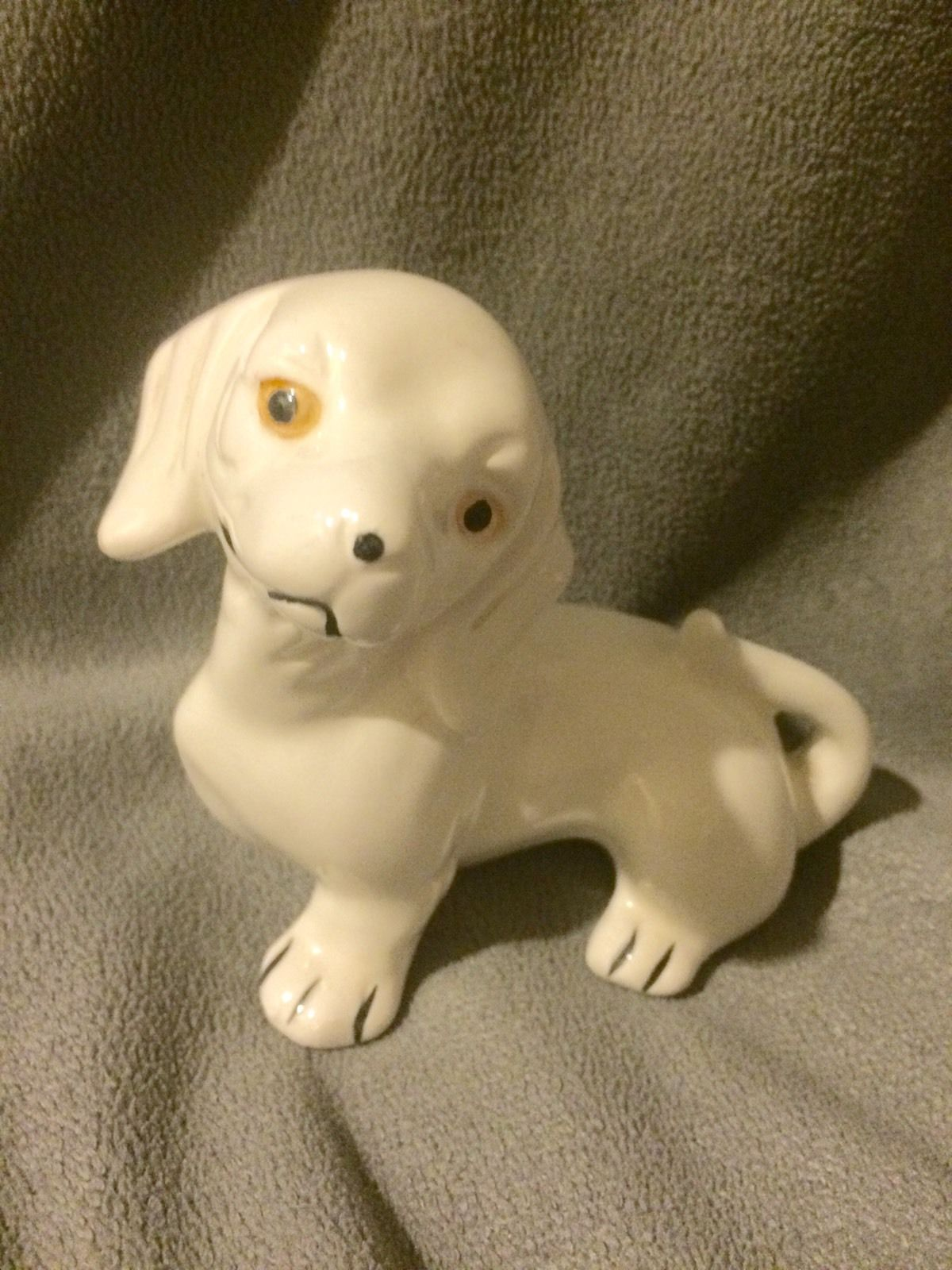 Vintage White Ceramic Dachshund Dog Figurine No Markings