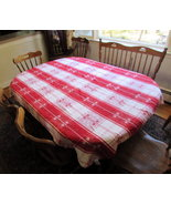 "Valentine  red tablecloth woven cotton silver threads  rectangle 60X68"" - $32.50"
