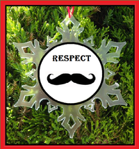 Respect The Stache Christmas Ornament - Snowflake - Moustache - Movember - $12.95