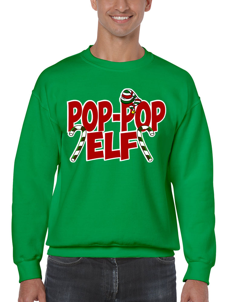 Primary image for Men's Crewneck Pop Pop Elf Ugly Xmas Holiday Family Cute Gift