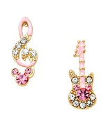 Music Unbalanced Earrings C08 Crystal Treble Clef Guitar Clear Pink Stud... - $19.88