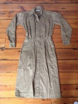 Vtg 80s Calvin Klein Beige Khaki Safari Secretary Maxi Button Dress M-L ... - $25.24