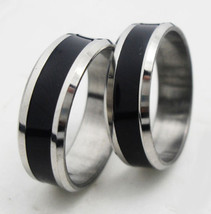 USA 2pcs Black & Silver Stainless Steel Ring Promise Engagement Couple R... - $326,22 MXN