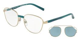 Alain Mikli Rx Eyeglasses Frames A02024 001/80 52-18-140 Gold Petrol w/ Clip - $160.72