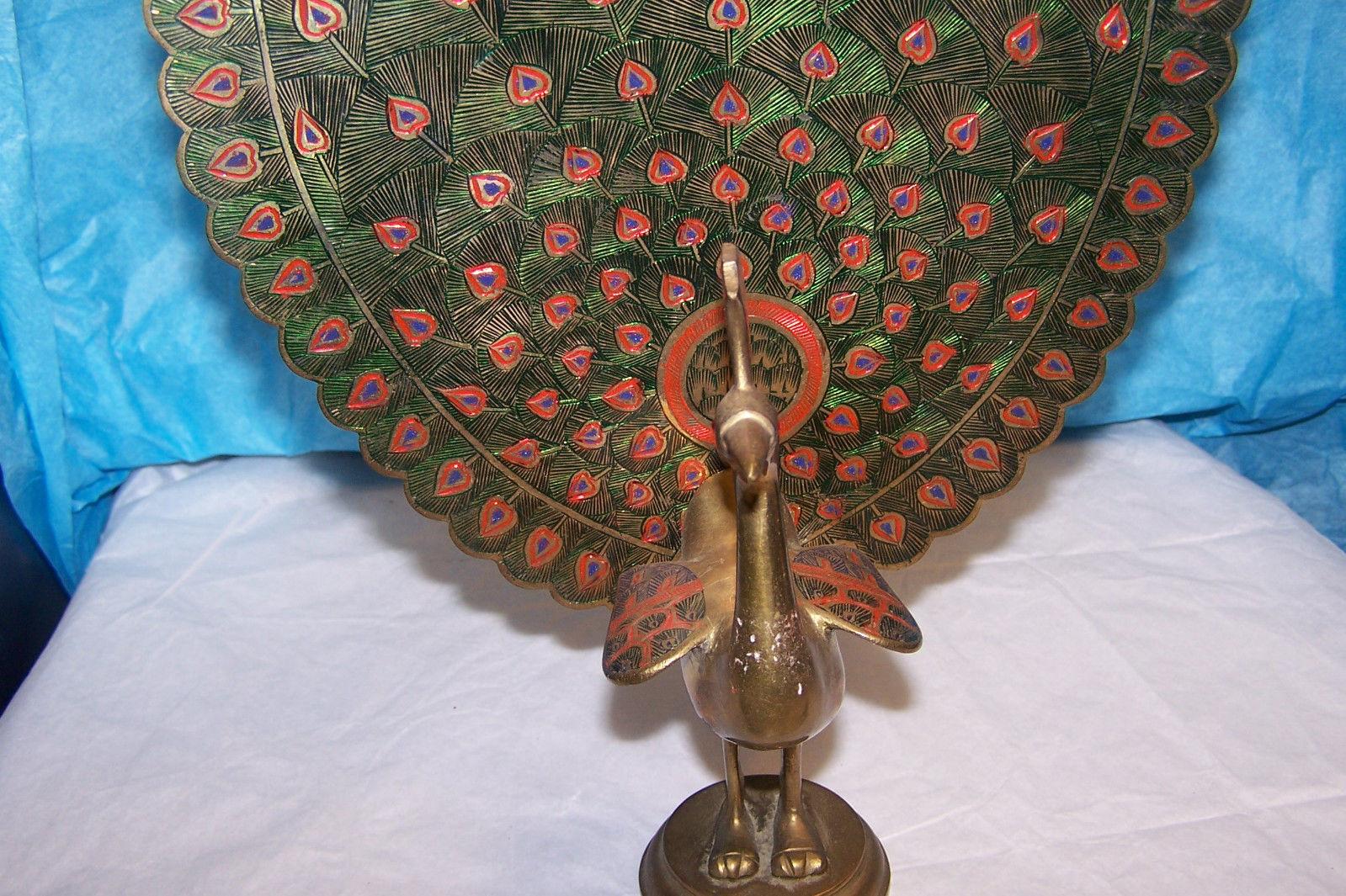 "Beautiful Vintage Brass Peacock Figurine 11"" Tall"