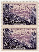 Stamps - Martinique Republic Francaise 20 f (2 Stamps) - $1.25