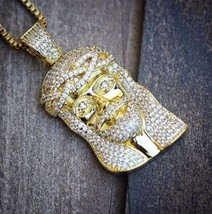 Iced Out 14K Small Mini Size Gold Jesus Piece Necklace Chain Combo Set - £20.71 GBP