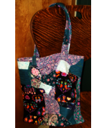 Handmade book bag, crazy patch pieced handbag, reusable eco bag, paisly - $9.00