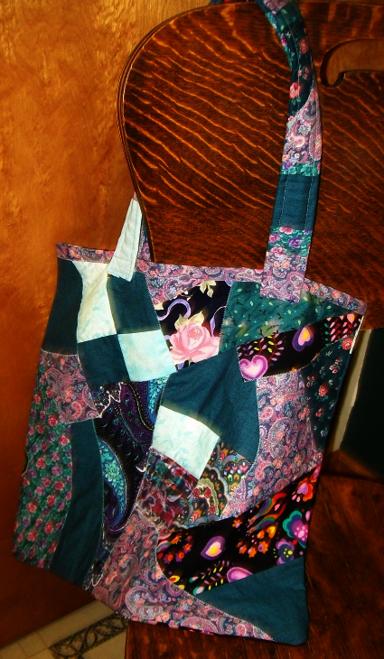 Handmade book bag, crazy patch pieced handbag, reusable eco bag, paisly