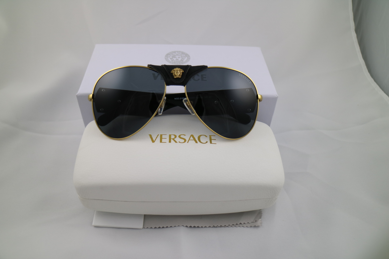 3432cfed4c4af Versace VE2150Q Black Medusa Aviator Sunglasses 100% UV 62mm