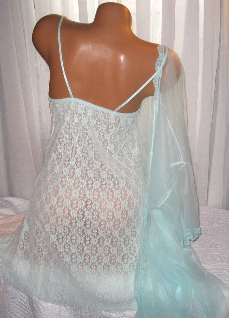 Stretch Lace Chemise and Robe Set S M L Short Nightgown Mint Green 2 Piece