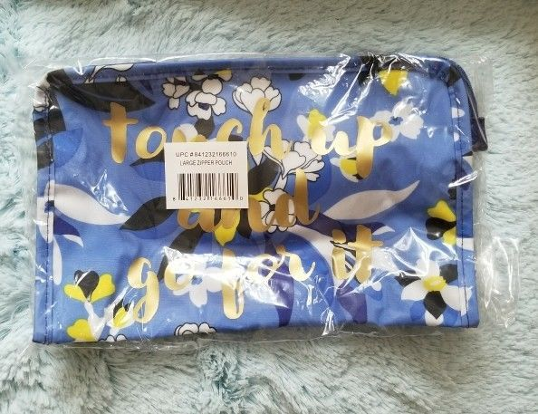 Draper James Large Zip Pouch Cosmetic Case Makeup Bag NEW! 'Touch up and...'