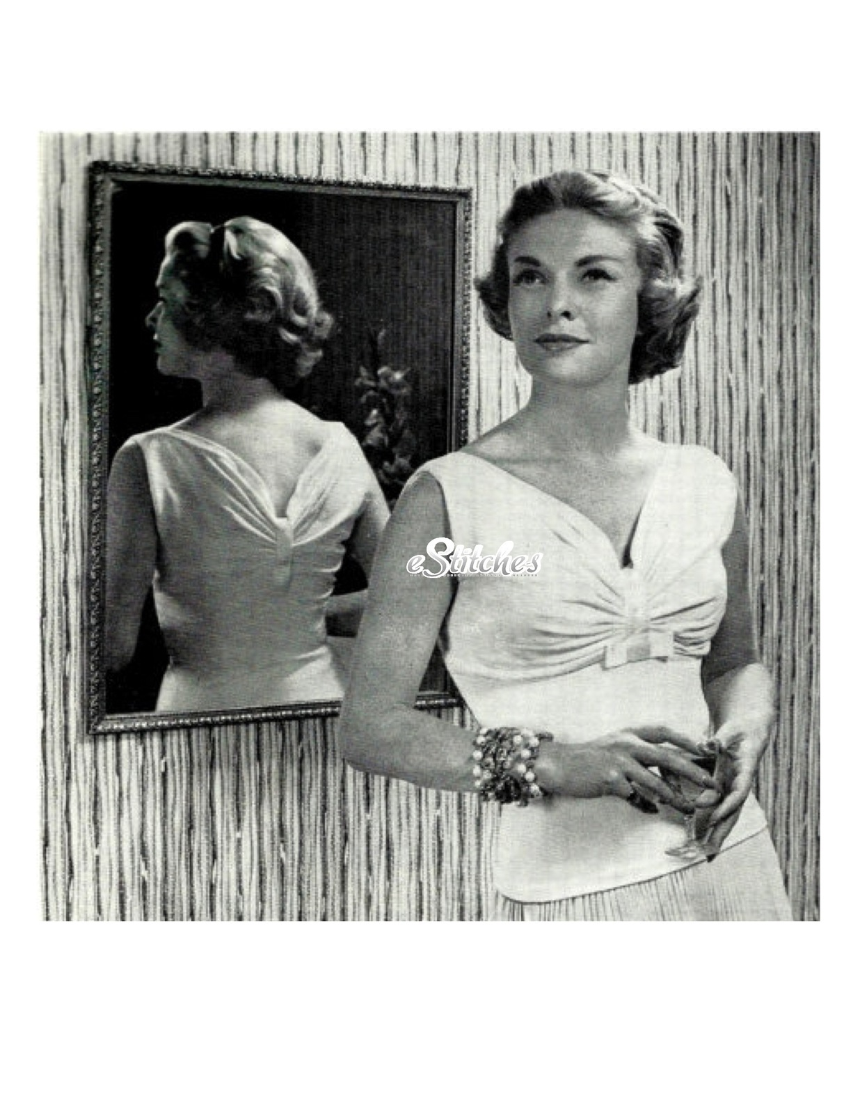 1950s Simple Sweater with Gathered Ruched Bust - Machine Knit Pattern (PDF 1758) - $3.75