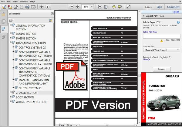 2011 2012 2013 2014 Subaru Forester Oem Workshop Fsm Manual   Wiring Diagram