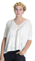 M Splendid Cream Boxy Top w/Front Pocket Soft Slub Knit V Neck w/Button ... - $29.70