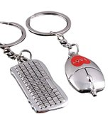 Computer Key Ring Set Of Two H1 Keyboard Mouse Heart Love - $19.88