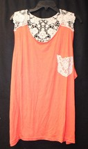 Cute New Womens Plus Size 3X Coral Orange Tank Top With Crochet Pocket & Back - $19.33