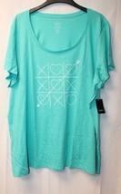 New Torrid Womens Plus Size 4X 4 Turquoise Tic Tac Love Toe Scoop Tee Shirt Top - $24.18