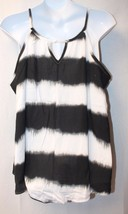 New Womens Plus Size 3X Black & White Tie Dye Striped Triangle Notch Tank Top - $19.34