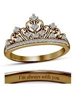 18K Rose Gold Fn. Round White CZ Diamond Disney Princess Crown Engagemen... - $67.99
