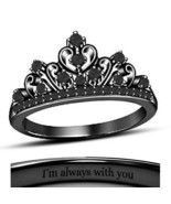 18K Black Gold Fn. Round Black CZ Diamond Disney Princess Crown Engageme... - $67.99