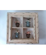 Faux Distressed Wood 4 Compartment Shadow Box Wall Hanging Decor 3D Vase... - $39.59