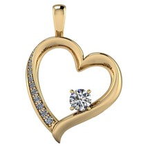 14K Yellow Gold Finish 1.0 Ctw Round Cut Moissanite CZ Heart Accent Pendant - $108.89