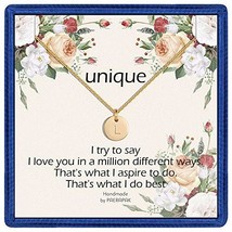 L Gold Initial Disc Necklace Gifts - Dainty Disc Letter Necklace Initial... - $11.14