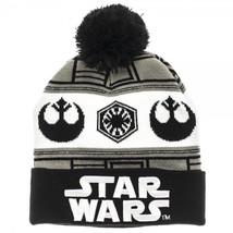 Star Wars 7 Embossed Logo Vs. Fairisle Cuff Knit Pom Beanie Hat  - $15.54
