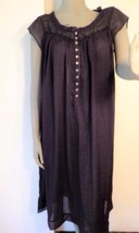 Eileen West Black Lawn Cotton Nightgown Size Me... - $24.18