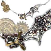 SteamPunk Cosplay Gothic Victorian Daedalus Penna Scientia Pewter Pendan... - $74.49
