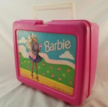 Vintage Barbie Thermos Pink Plastic Lunch box Mattel Made in USA FREE SH... - $24.75