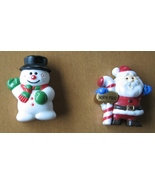 Santa Claus and Frosty Winter Brooches - 1980s Vintage Pinbacks - Russ, ... - $9.96