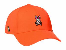 Psycho Bunny Men's Embroidered Snapback Sports Baseball Cap Hat Shocking Orange