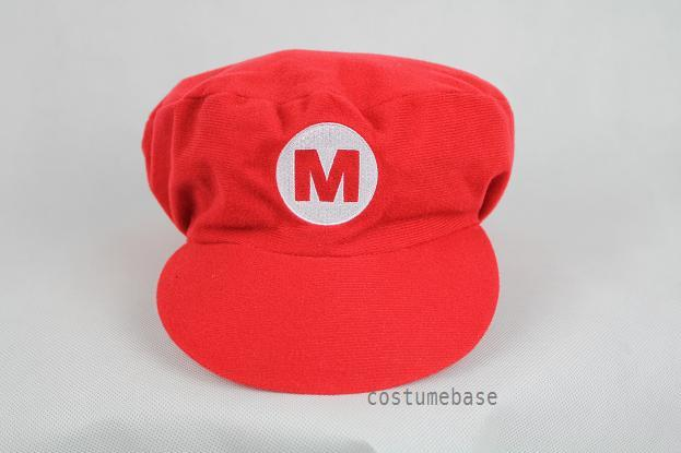 Super Mario Bros Red Cap Adult Kids Hat Costume Flat Top Taper down Fancy Dress