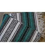 "Mexican Blanket Handwoven Falsa in ""Tribal Teal... - $15.95"